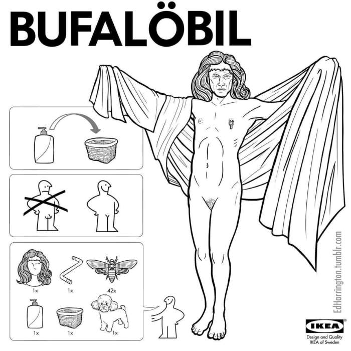 Buffalo Bill; Silence of the Lambs as an Ikea Toy Instruction Sheet