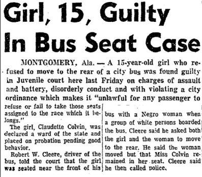 Claudette Colvin: Chicago Defender 3/26/1955