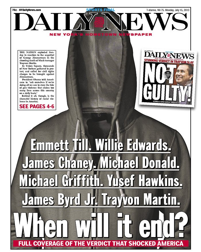 When Will It End? Trayvon Martin Hoodie Cover NY Daily News